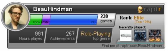 Raptr Gamercard screenshot