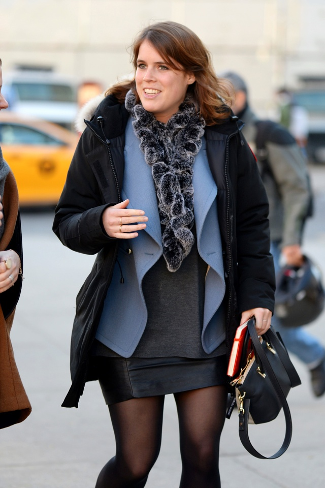 Princess Eugenie Shows Off Leather Miniskirt And Fur Scarf Street Chic In New York