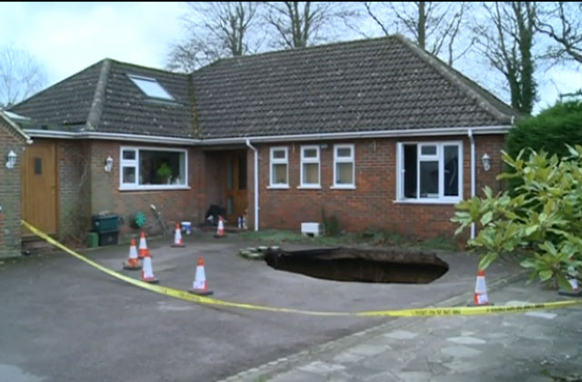 Sinkhole outside Smith home in High Wycombe