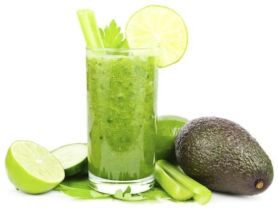 Green vegetable smoothie, avocado smoothie