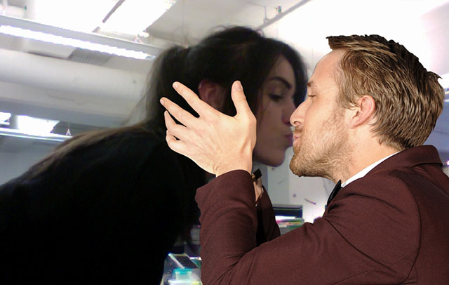 kissing ryan gosling