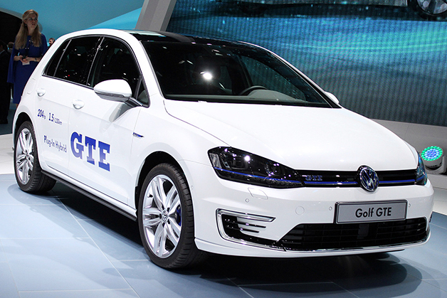 The Volkswagen Golf GTE at the 2014 Geneva Motor Show, front three-quarter view