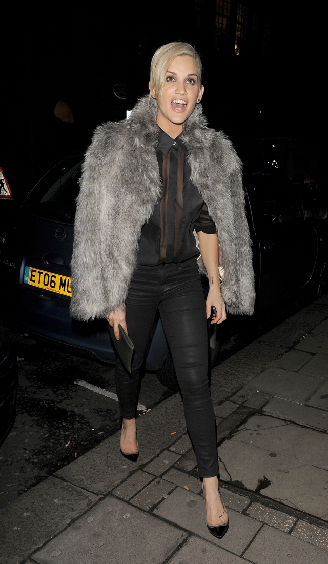 ashley-roberts-sheer-shirt-fur-coat-london
