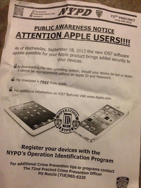 NYPD flyer