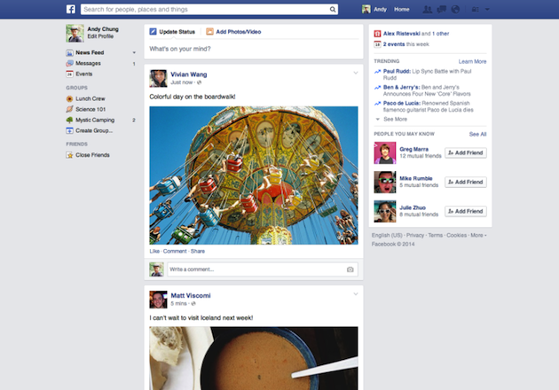 news feed screenshot 3 Facebook cambia ancora la grafica del News Feed, ma non in Italia