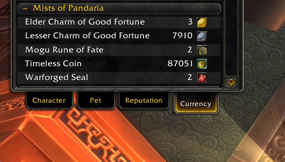 Mists of Pandaria currency