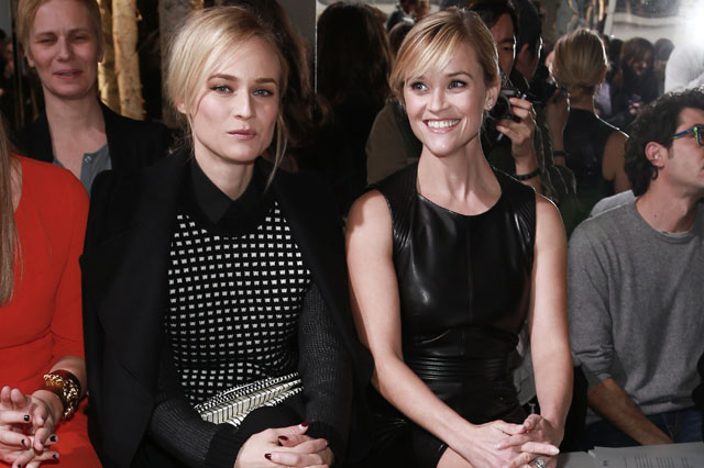 NEW YORK, NY - FEBRUARY 12:  Diane Kruger (L) and Reese Witherspoon attend the Boss Women Show during Mercedes-Benz Fashion Week Fall 2014 at 250 West 55th Street on February 12, 2014 in New York City.  (Photo by Paul Zimmerman/WireImage)