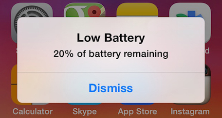 iOS 7 Low Battery Warning