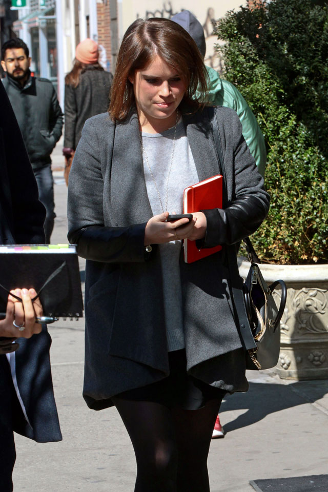 NEW YORK, NY - MARCH 25: Princess Eugenie of York is seen with her phone on March 25, 2014 in New York City.  (Photo by Ignat/Bauer-Griffin/GC Images)