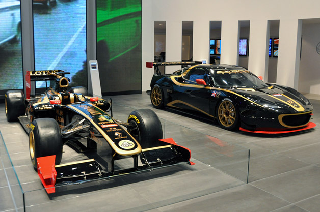 Lotus F1 car and Evora