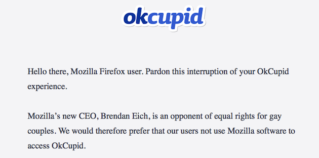 Political backlash against Mozilla's new CEO continues as OkCupid suggests browser alternatives