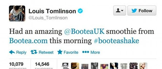 Louis Tomlinson endorse weight loss bootea shake on twitter