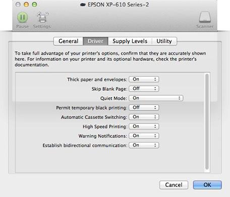 Epson XP-610 Driver Preferences