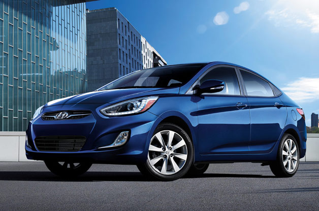 2014 Hyundai Accent Sedan - blue - front three-quarter view