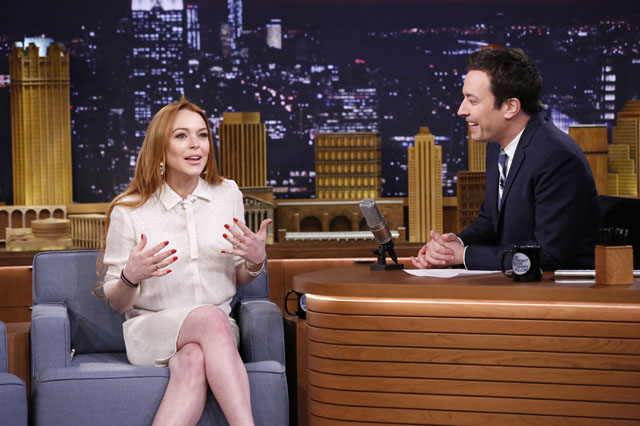 THE TONIGHT SHOW STARRING JIMMY FALLON -- Episode 0014 -- Pictured: (l-r) Lindsay Lohan during an interview with host Jimmy Fallon on March 6, 2014 -- (Photo by: Lloyd Bishop/NBC/NBCU Photo Bank)