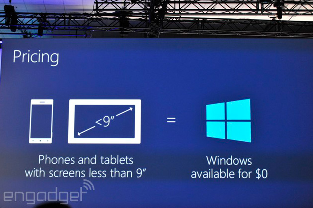 Windows will be free on small devices