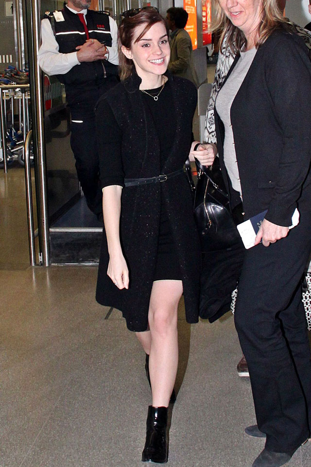 Mandatory Credit: Photo by Action Press/REX (3643246e) Emma Watson Emma Watson arrives at Berlin Tegel Airport, Germany - 12 Mar 2014