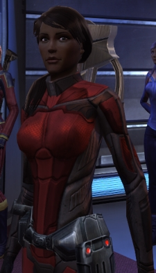 Captain River Armstrong of the USS Xiang Yu, impetuous, a bit impulsive, sometimes headstrong, but enthusiastic and friendly to her crew.