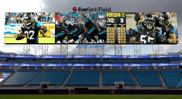 Giant scoreboard at the Jacksonville Jaguars' EverBank Field