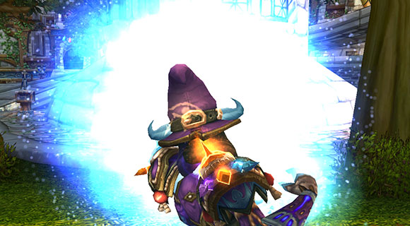 A female draenei mage casts many portal spells in one location.
