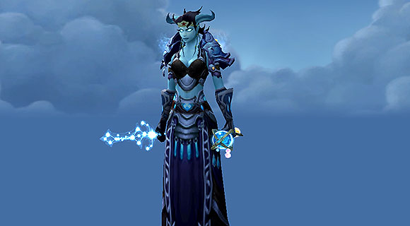 A draenei mage wielding a dagger made out of stars