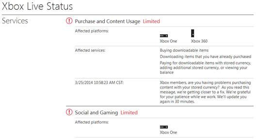 Status xbox alert Xbox 360.
