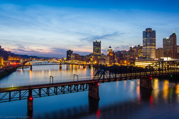 Pittsburgh bridges night