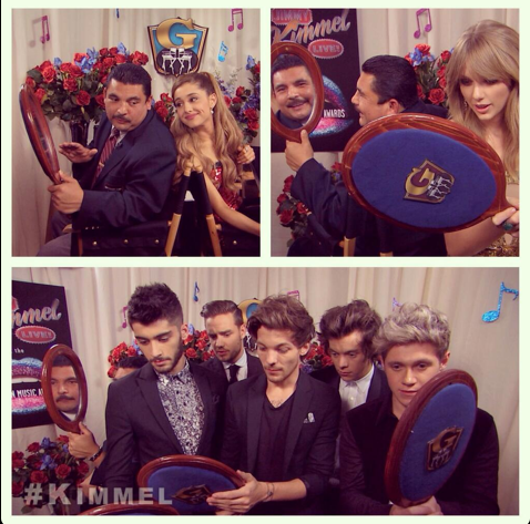 Jimmy Kimmel AMAs back to back Guillermo Taylor Swift Ariana Grande One Direction