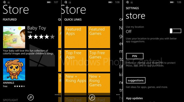 Windows Phone 8.1's storefront