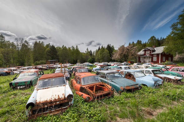 Wide shot of the site. Photographer Svein Nordrum ventured into a thick forest in southern Sweden where he found 1,000 forgotten cars from the 1950s - a vintage car collector?s dream, left to rust. Today, rusting classic cars including vintage Opels, Fords, Volvos, Buicks, Audis, Saabs and a Sunbeam litter the natural undergrowth. ***NOTE: MORE PIX ARE AVAILABLE CALL TOM KNIGHT 0117 9733730***
