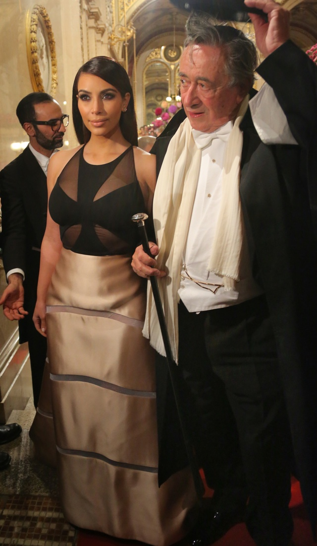 Kim Kardashian goes to the Vienna Ball with her mother Kris Jenner as they walk through the massive crowd that were all going up the same red carpet steps as Kim posed for photos with Richard Lugner who wore a top hat. <P> Pictured: Kim Kardashian and Richard Lugner <P><B>Ref: SPL709305  270214  </B><BR/> Picture by: Brian Prahl / Splash News<BR/> </P><P> <B>Splash News and Pictures</B><BR/> Los Angeles: 310-821-2666<BR/> New York: 212-619-2666<BR/> London: 870-934-2666<BR/> photodesk@splashnews.com<BR/> </P>