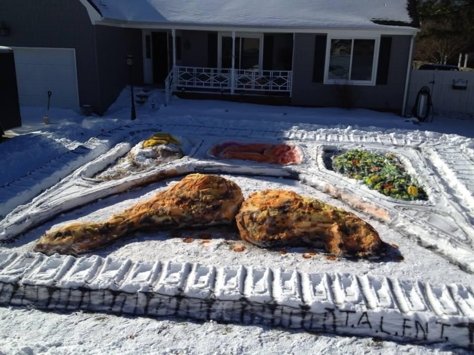 Frozen dinner on man's lawn