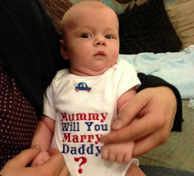 Dean Verbeck's son Blake in the proposal babygrow
