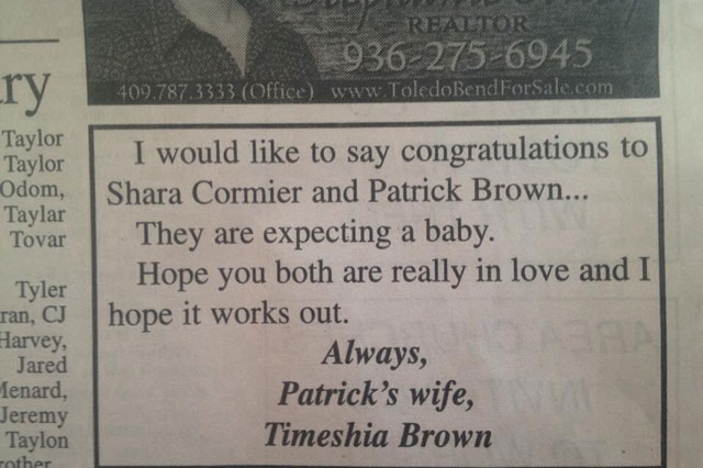 Wronged wife takes out newspaper ad