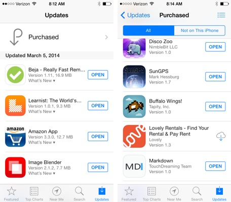 Purchased Apps List
