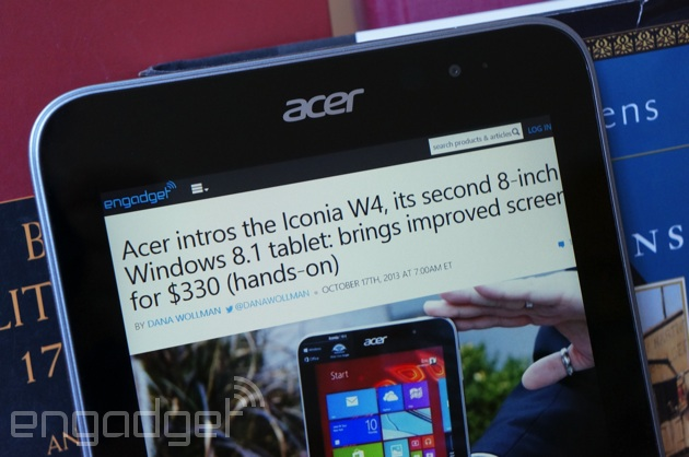 Acer Iconia W4 browsing