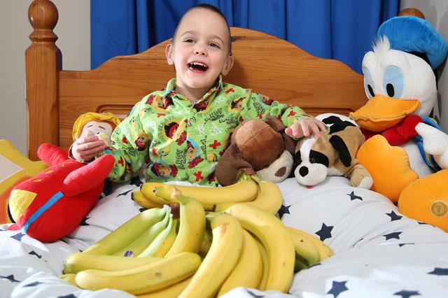 Boy can sleep thanks to bananas