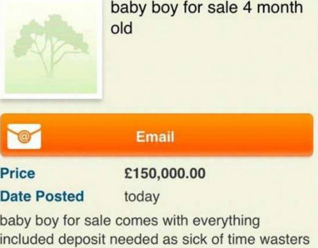Gumtree advert for baby