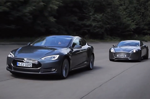 Autocar pits the Tesla Model S against the Aston Martin Rapide S in a drag race, and the Model S wins.