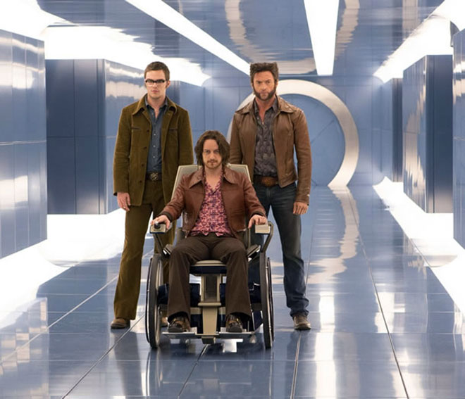Nicholas Hoult, James McAvoy, and Hugh Jackman in 'X-Men: Days of Future Past'