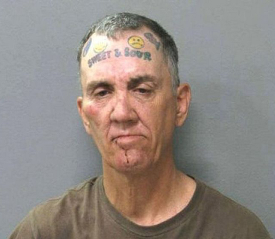 worst face tattoos old man sweet sour