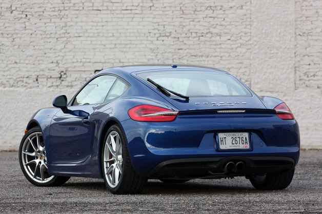 2014 Porsche Cayman S rear 3/4 view