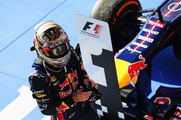 AUSTIN, TX - NOVEMBER 17:  Sebastian Vettel of Germany and Infiniti Red Bull Racing celebrates in parc ferme after winning the United States Formula One Grand Prix at Circuit of The Americas on November 17, 2013 in Austin, United States.  (Photo by Mark Thompson/Getty Images) *** Local Caption *** Sebastian Vettel