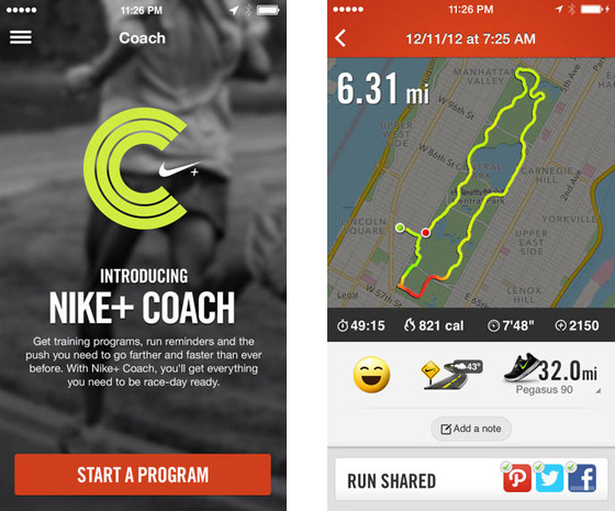 Nike+ Running for iPhone with coach mode