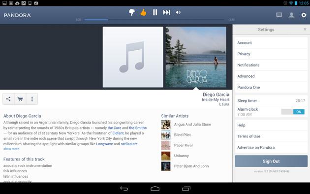 Pandora Radio on an Android tablet