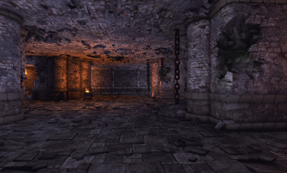 Yup. This is definitely a room in a dungeon. The adventuring kind. Definitely not a literal dungeon. Too spacious, and those chains are totally superfluous.