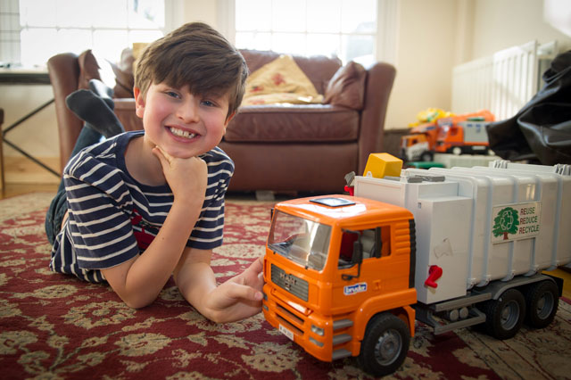 Boy buys toy lorry on eBay