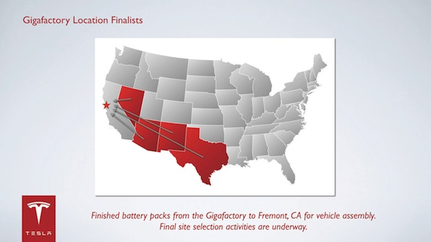 Potential Tesla gigafactory state locations
