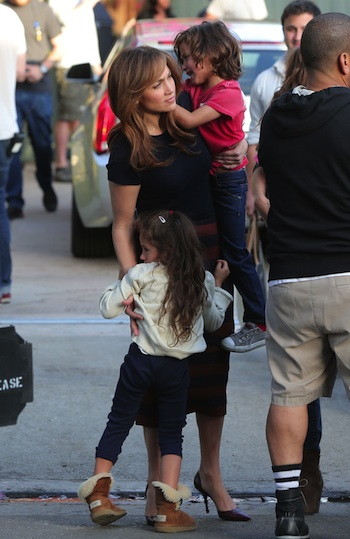 51265145 Actress Jennifer Lopez on the set of the upcoming movie 'The Boy Next Door' in Los Angeles, California on November 17, 2013. She was joined by her twins, Max and Emme on set.  Actress Jennifer Lopez on the set of the upcoming movie 'The Boy Next Door' in Los Angeles, California on November 17, 2013. She was joined by her twins, Max and Emme on set. FameFlynet, Inc - Beverly Hills, CA, USA - +1 (818) 307-4813