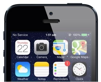 iOS 7 screen showing